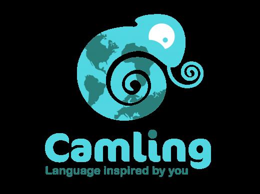 Logo représentant un caméléon bleu avec des tâches de continents