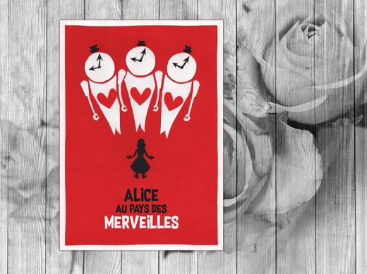 Affiche du film Alice aux pays des merveilles façon saul bass