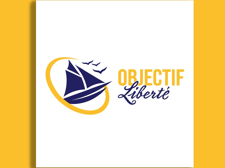Logo de l'entreprise objectif liberté représentant un voilier et des oiseaux