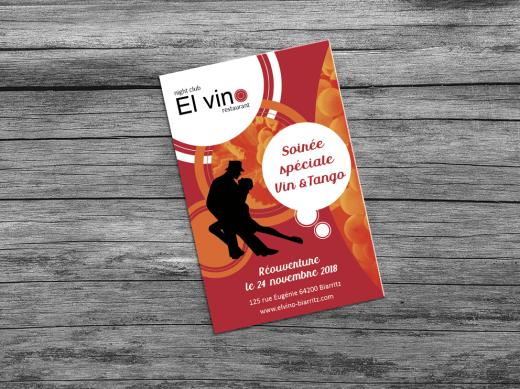 Flyers de l'entreprise El Vino pour une soirée vin & tango